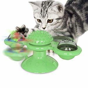Moulin À Vent Cat Toy Turntable Teasing Interaction, Chat D'intérieur, avec Ventouse, Cat Scratching Brosse À Cheveux Jouet, avec Cataire Et Bell,Vert