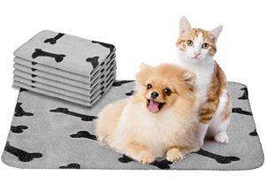 Nobleza – 6 x Couvertures en Peluche Douces Tapis pour Chiens, Tapis Chat, Lapins et Autres Animaux de Compagnie Lavable Gris 75 * 75 cm