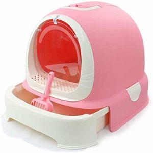 NOCEVCX Pet Supplies (Couleur: Rose): (de Couleur Rose) litière Plateau Pot Bassin fermé Toilette Fat Grand Sable Splash Déodorant (Couleur: Rose) (Color : Pink)