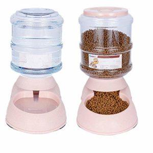othulp Distributeur Croquettes pour Chat Croquette pour Chat Chaton Alimentation Chargeur La Nourriture et de l'eau d'alimentation Mis Pink,Feeder Set