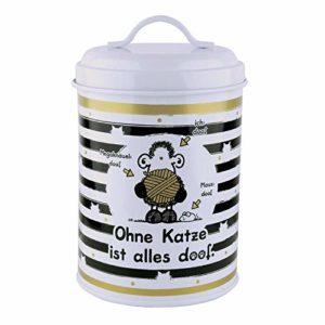 Sheepworld 45998 Boîte à friandises en métal avec Inscription en Allemand Ohne Katze ist Alles Doof 130 cl
