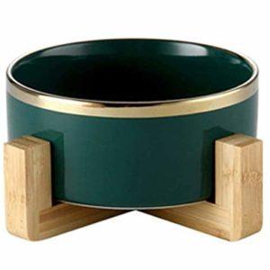 Siunwdiy Gamelle pour Chat en céramique Chien Chat Vaisselle Bowls Pet Supplies Mignon céramique chatières Universal Pet Manger Abreuvoir Bamboo Rack antidérapage,Vert