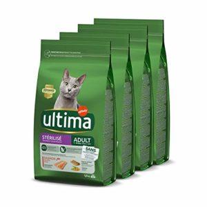 Ultima Croquettes Stérilisés Adulte au Saumon pour Chat: Pack 4 x 1,5kg – Total 6 kg