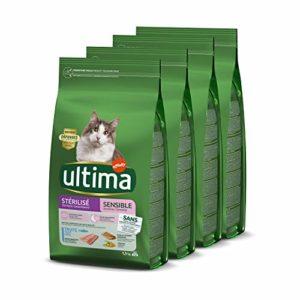 Ultima Croquettes Stérilisés Sensible à Truite pour Chat: Pack 4 x 1,5kg – Total 6 kg