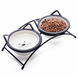 Y YHY Double gamelles en céramique surélevées pour chat ou petit chien, motif chat mignon, passe au lave-vaisselle, 340 g