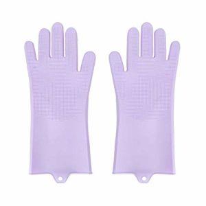 Ymiko Gant de toilettage pour Animaux de Compagnie Silicone Dog Hair Remover Glove Gant de Massage Efficace pour Chat et Chien(Violet)