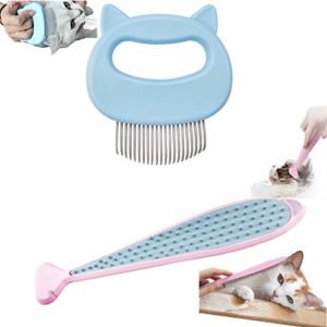 ZHOVAEAL Lot de 2 brosses de toilettage relaxantes pour animaux domestiques, chats, chiens, peignes à puces, peignes de nettoyage et de nettoyage pour épilation