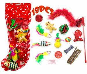 MQIAN Jouet de Noël pour Chat 18pcs, Jouets pour Chats, Kit Jouet Chats, Chats d'intérieur Jouet-Souris, Balles, Teaser Wand, Chaton Cadeau de Noël