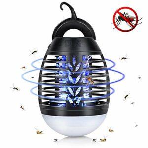 ZXCV Lampe de Tueur de Moustique de Camping d'été, Lanterne de piège à Tueur de Moustique électrique extérieure étanche à la Maison, Charge USB Anti-Moustique,Noir