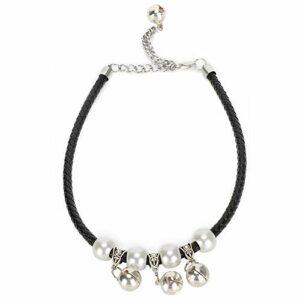 Collier de chien de chat de compagnie, collier pour animal de compagnie de cordon en cuir tissé de mode, collier de chat confortable réglable, avec cloche, pour la plupart des chats(XS-Noir)