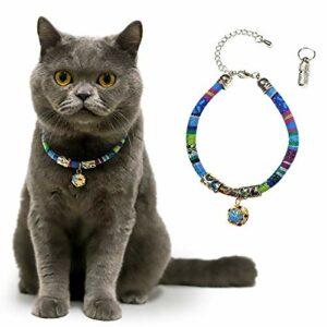 C-Tail Collier de sécurité pour chat, de style bohème avec cloches, taille réglable de 25 à 40 cm, convient aux chats de taille moyenne à grande, pendentif porte-message inclus