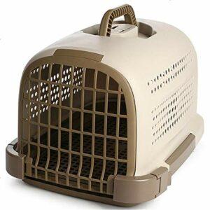 DHWOP Cage pour Transport à Longue Distance pour Animaux de Compagnie aérienne Caisse de Transport Portable pour Chats, Plastique, Gris, 46 x 31 x 32cm