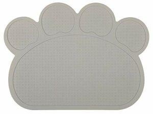 DM Tapis de litière en silicone en forme de pattes pour chat Motif chat Gris clair 40 x 30 cm