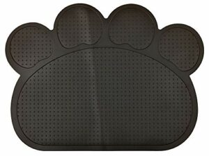 DM Tapis de litière en silicone en forme de pattes pour chat Motif chat Noir 40 x 30 cm