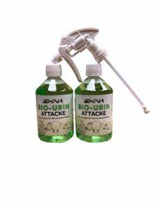 EKNA Bio-Urine Attack – Le désodorisant Biologique   Désodorisant pour odeurs et Urine d'animaux   Sélection 500ml 1000ml   Made in Germany (2x500ml + tête de pulvérisation)