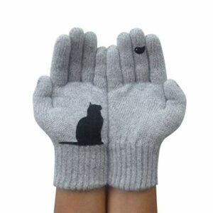 Gants imprimés Chat, Gants en Cachemire Thermique Chaud d'hiver, Mitaines tricotées pour Chien de Dessin animé, Gants de Protection Contre Le Froid extérieur (Chat Gris)