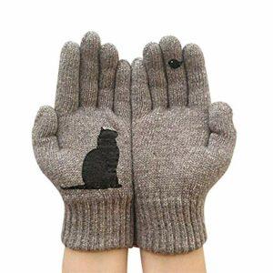 Gants imprimés Chat, Gants en Cachemire Thermique Chaud d'hiver, Mitaines tricotées pour Chien de Dessin animé, Gants de Protection Contre Le Froid extérieur (Chat Kaki)