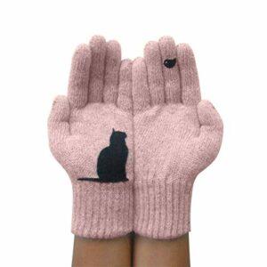 Gants imprimés Chat, Gants en Cachemire Thermique Chaud d'hiver, Mitaines tricotées pour Chien de Dessin animé, Gants de Protection Contre Le Froid extérieur (Chat Rose)