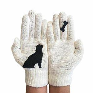 Gants imprimés Chat, Gants en Cachemire Thermique Chaud d'hiver, Mitaines tricotées pour Chien de Dessin animé, Gants de Protection Contre Le Froid extérieur (Chien Blanc)