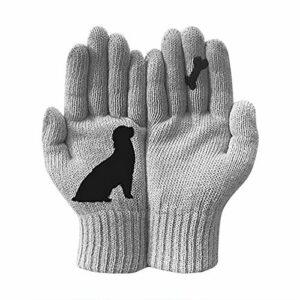 Gants imprimés Chat, Gants en Cachemire Thermique Chaud d'hiver, Mitaines tricotées pour Chien de Dessin animé, Gants de Protection Contre Le Froid extérieur (Chien Gris)