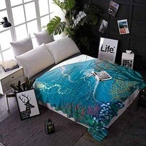 HUA JIE Couverture Froide Aquarium Maison Chambre Couverture Méduses Artistiques Nageant sous Mer Récif Corail Plantes Océanique Faune Super Doux Couverture Chaude Medium 60X50 in for Teens
