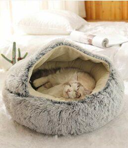 LUOWAN Cat Cave Cats House Lit pour chat Pet Pet Nest Sac de couchage 2 en 1 pliable Cuddle Cave (50 X 50 CM,B)