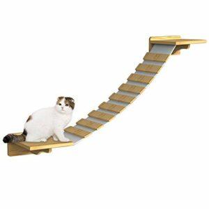 Marches d'échelle pour chat Planche de plate-forme de perche pour chat en bois avec marches d'escalade Étagères pour animaux de compagnie Support mural pour chat Escalier d'escalade Passerelle Lounge