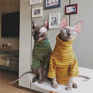 NELIT Sphynx Chat vêtements Chat vêtements Hiver Pur Coton T-Shirt Rayure Couples Bas Chemise