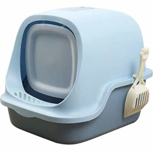 OFAY Bac à litière pour chat avec couvercle rabattable et pelle à litière avec couvercle rabattable pour chatons, grands chats, chiots, chiens, bleu