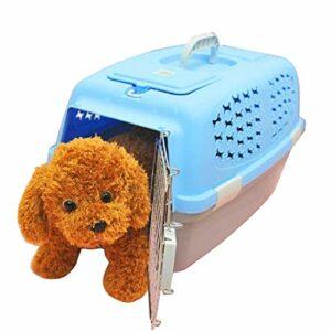 Outils de Transport pour Animaux de Compagnie, Pet Airways Box Vérifié Les Cases Out Cages Transport de Bagages for Chat/Chien et Autres Animaux Petit, Taille: 59 * 38 * 38cm (Color : Blue)
