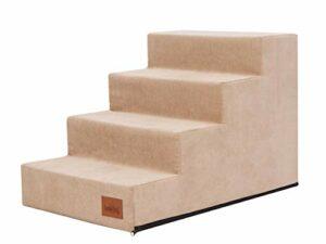 PillowPrim Escalier pour animal domestique – Aide à l'entrée pour petits chiens et chats – 4 marches – Beige – Hauteur : 40 cm