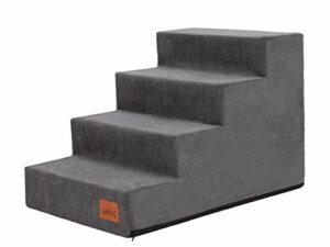 PillowPrim Escalier pour animal domestique – Aide à l'entrée pour petits chiens – Rampe d'escalier pour chat – 4 marches – Graphite – Hauteur : 40 cm
