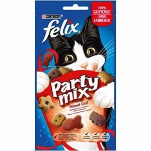 Purina Felix Party Mix Snack Lot de 8 Barbecue pour Chat avec œuf, Poulet et Saumon, 60 g chacune