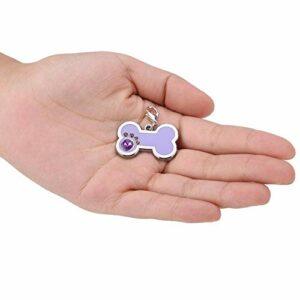 Redxiao Étiquette de nom d'animal en Alliage de Zinc de Forme d'os, étiquette de Chat Pourpre, Durable pour l'étiquette de Chat d'étiquette de Chien(Purple)