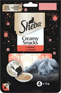 Sheba Creamy Snacks pour chat adulte – Friandise crémeuse – au bœuf – 20 x 4 x 12g sachets snack gourmand pour chats