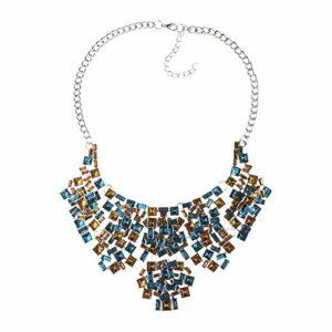 Stzker Mesdames Clavicule Sertie De Diamants Rétro Chaîne Accessoires Vêtements Bijoux Décoration (Color : Multi-Colored)