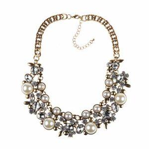 Stzker Mode Perle Collier Femme Robe Courte en Alliage Diamant Décoration Accessoires (Color : Multi-Colored)