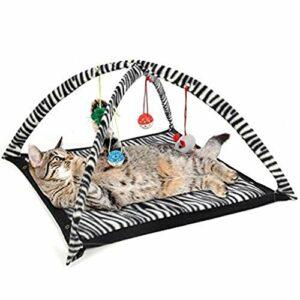 Tente de Jeu pour Chat drôle avec Jouets Suspendus Balles de lit pour Chat Tente de lit pour Chaton Couverture de Tapis Blanc et Noir