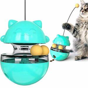 THUMBGEEK Spaß Tumbler Haustiere Slow Food Unterhaltung Spielzeug Die Aufmerksamkeit Der Katze Einstellbar Snack Mund Spielzeug Für Pet (Bleu)
