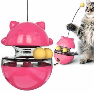 THUMBGEEK Spaß Tumbler Haustiere Slow Food Unterhaltung Spielzeug Die Aufmerksamkeit Der Katze Einstellbar Snack Mund Spielzeug Für Pet (Rouge)