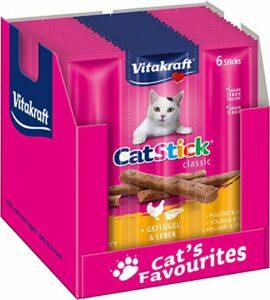 Vitakraft Cat-Stick Mini – Friandise premium pour chat saveur Volaille et Foie – 10 sachets de 6 sticks
