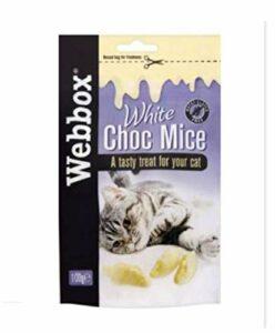 Webbox Blanc Choc Souris Chat Friandise 100g Pack-Reward Chaton Chat Amicale Chocolat – 3X