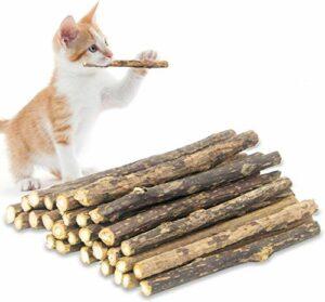 Yeteng Lot de 48 bâtonnets de vigne d'argent pour chat et chaton