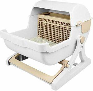 Alysays Litière de Chat Flip Couvercle Cat Litiser Semi-Automatique Nettoyage Rapide Cat Toilet Bac de Toilette PP Résine Cat Lititer Litiser (Couleur: Vert) (Color : Brown)