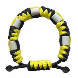 Bracelet anti-tiques en paracorde naturelle avec céramique EM, longue durée, contrôle sûr des tiques pour enfants et adultes, bracelet unisexe réglable (soleil)