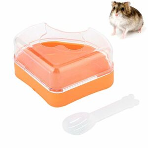 Camidy Baignoire de Toilette de Sable de Hamster pour Animaux de Compagnie Salle de Bains en Plastique pour Petits Animaux avec Pelle