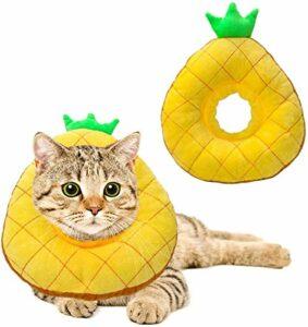 Collier de convalescence pour chat – Mignon ananas – Cônes pour chat après chirurgie – Réglable – Collier élisabéthain – Pour chaton et chat – M ananas
