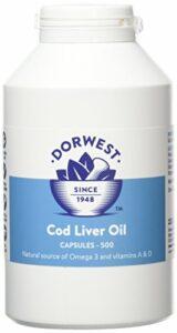 Dorwest Herbs – Gélules d'huile de foie de morue pour chien et chat – 500 gélules