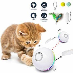 Fairwin Jouet pour Chat, Balles Interactives pour Chats avec Lumières LED et Jouets Cataire pour Chats d'intérieur, Rotation Automatique à 360 Degrés et Chargement USB (2020 Mise à Niveau)