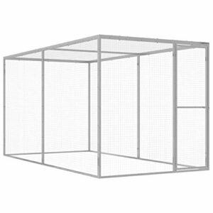 Festnight Cage pour Chat Cage d'extérieur en Acier Galvanisé 3×1,5×1,5 m